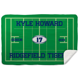 Rugby Sherpa Fleece Blanket - Personalized Rugby Senior