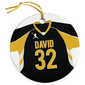 Guys Lacrosse Porcelain Ornament Personalized Jersey Circle