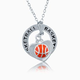 Basketball in Heart Charm and Message Ring Necklace