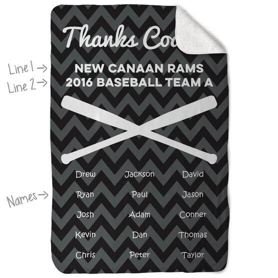 Baseball Sherpa Fleece Blanket - Personalized Thanks Coach Chevron
