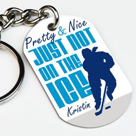 Hockey Printed Dog Tag Keychain Pretty And Nice Just Not On The Ice