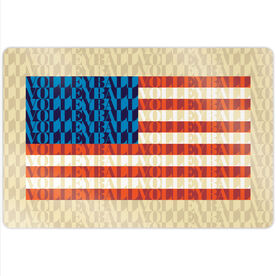"""Volleyball 18"""" X 12"""" Aluminum Room Sign - American Flag Mosaic"""
