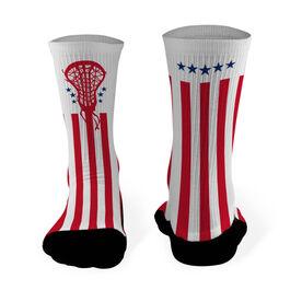 Girls Lacrosse Printed Mid Calf Socks Patriotic Lacrosse