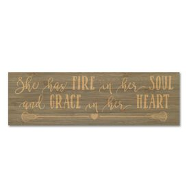 """Girls Lacrosse 12.5"""" X 4"""" Printed Bamboo Removable Wall Tile - She Has Fire In Her Soul And Grace In Her Heart"""