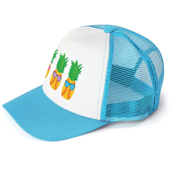 Softball Trucker Hat Pineapples with Sunglasses