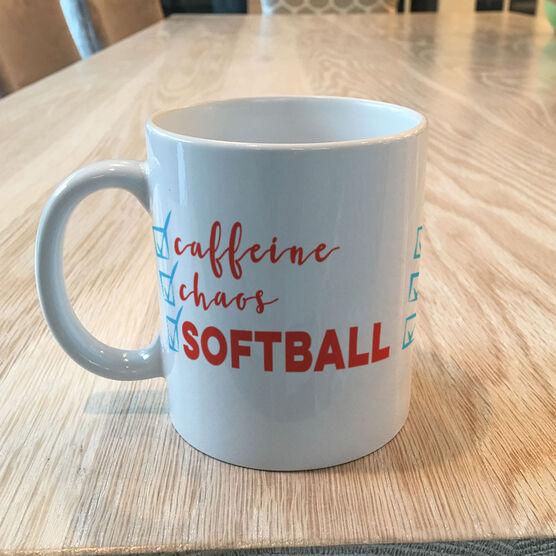 Softball Coffee Mug - Caffeine, Chaos and Softball