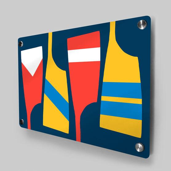 Crew Metal Wall Art Panel - Oars Colors