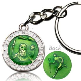 St. Christopher Lacrosse Player Guardian Medal Keychain (2.3cm)