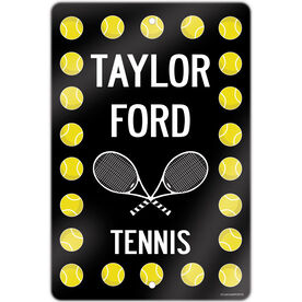 """Tennis Aluminum Room Sign Personalized Tennis Ball Border With Rackets (18"""" X 12"""")"""