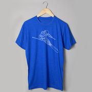 Skiing Short Sleeve T-Shirt - Skier Sketch