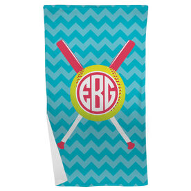 Softball Beach Towel Monogrammed with Crossed Bats and Chevron
