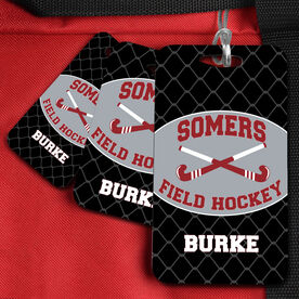 Field Hockey Bag/Luggage Tag Personalized Field Hockey Team with Crossed Sticks