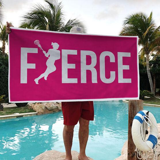 Girls Lacrosse Premium Beach Towel - Fierce