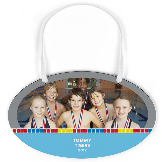 Swimming Oval Sign - Team Photo With Pool Lane