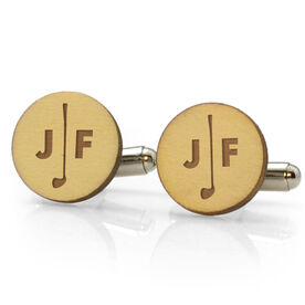 Golf Engraved Wood Cufflinks Split Initials