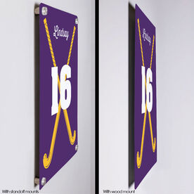"Field Hockey 18"" X 12"" Aluminum Room Sign - Personalized Crossed Girl Sticks"