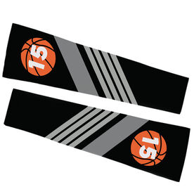 Basketball Printed Arm Sleeves - Personalized Basketball with Stripes