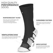Team Number Woven Mid-Calf Socks - Black