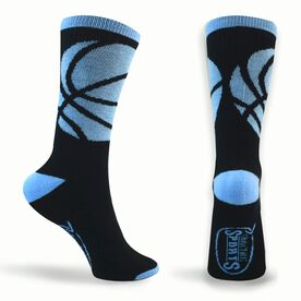 Basketball Woven Mid-Calf Socks - Ball Wrap (Black/Carolina Blue)