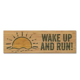 "Running 12.5"" X 4"" Printed Bamboo Removable Wall Tile - Wake Up and Run"