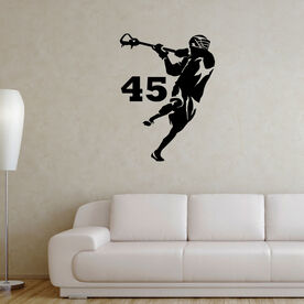 Guys Lacrosse Removable ChalkTalkGraphix Wall Decal - Personalized Jump Shot Silhouette