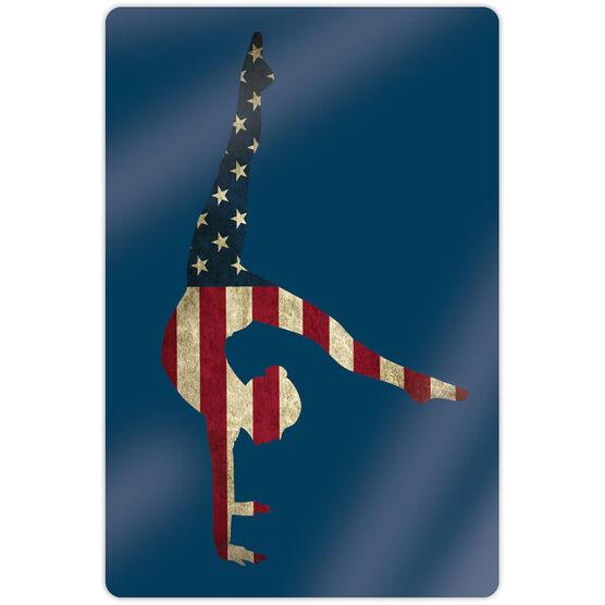 "Gymnastics 18"" X 12"" Aluminum Room Sign - American Flag Silhouette"