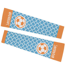 Soccer Printed Arm Sleeves - Personalized Soccer Ball Quatrefoil Pattern