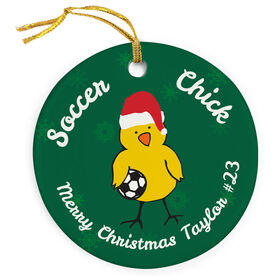 Soccer Porcelain Ornament Chick With Santa Hat
