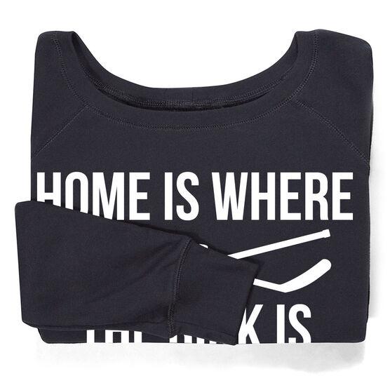 Hockey Fleece Wide Neck Sweatshirt - Home Is Where The Rink Is
