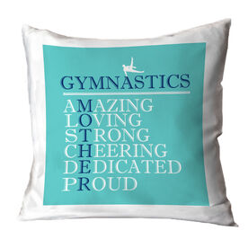 Gymnastics Throw Pillow - Mother Words (Guy Gymnast)