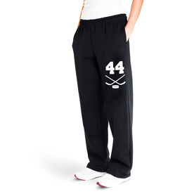Hockey Fleece Sweatpants - Crossed Sticks With Number