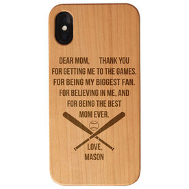 Baseball Engraved Wood IPhone® Case - Dear Mom Thank You Heart