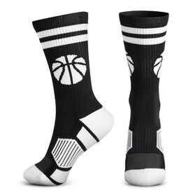 Basketball Woven Mid-Calf Socks - Ball (Black/White)