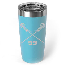 Girls Lacrosse 20 oz. Double Insulated Tumbler - Personalized Crossed Sticks