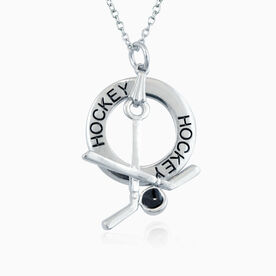 Hockey Message Ring and Sticks Charm Necklace
