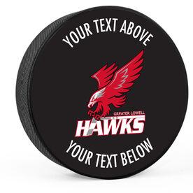 Hockey Puck - Greater Lowell Hawks Hockey Logo