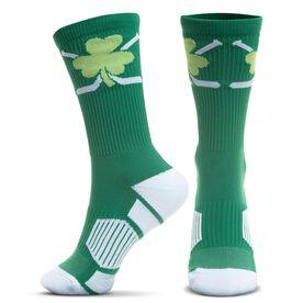 Hockey Woven Mid-Calf Socks - Shamrock Crossed Sticks