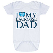 Guys Lacrosse Baby One-Piece - I Love My Lacrosse Dad