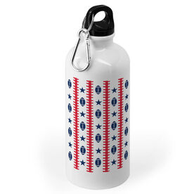 Football 20 oz. Stainless Steel Water Bottle - Patriotic Pattern