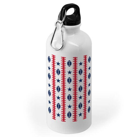 Football 20 oz. Stainless Steel Water Bottle - Patriotic Pattern