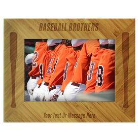 Baseball Bamboo Engraved Picture Frame Baseball Brothers