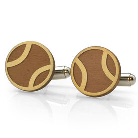Tennis Engraved Wood Cufflinks Ball