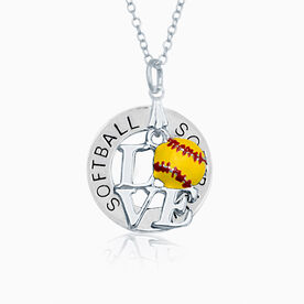 Softball Message Ring and Love Softball Charm Necklace
