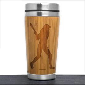 Bamboo Travel Tumbler Softball Player