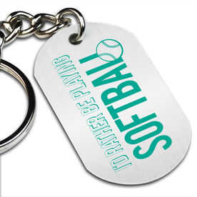 I'd Rather Be Playing Softball Printed Dog Tag Keychain