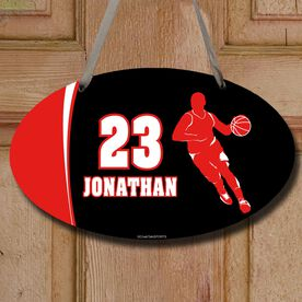 Basketball Oval Room Sign Personalized Basketball Guy with Big Number