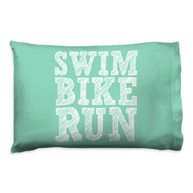 Triathlon Pillowcase - Swim Bike Run (Stacked)