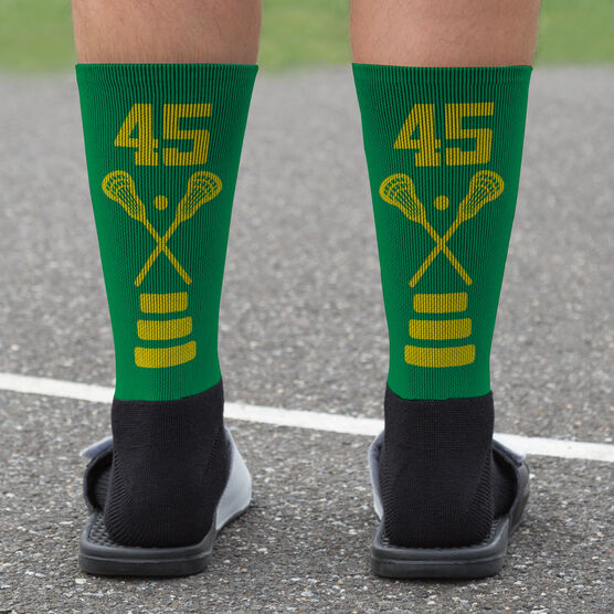 Lacrosse Printed Mid-Calf Socks - Lacrosse Stick Team Colors