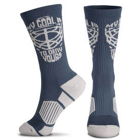 Hockey Woven Mid-Calf Socks - My Goal is to Deny Yours Helmet