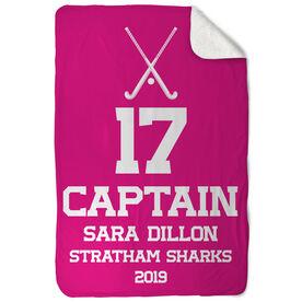 Field Hockey Sherpa Fleece Blanket - Personalized Captain